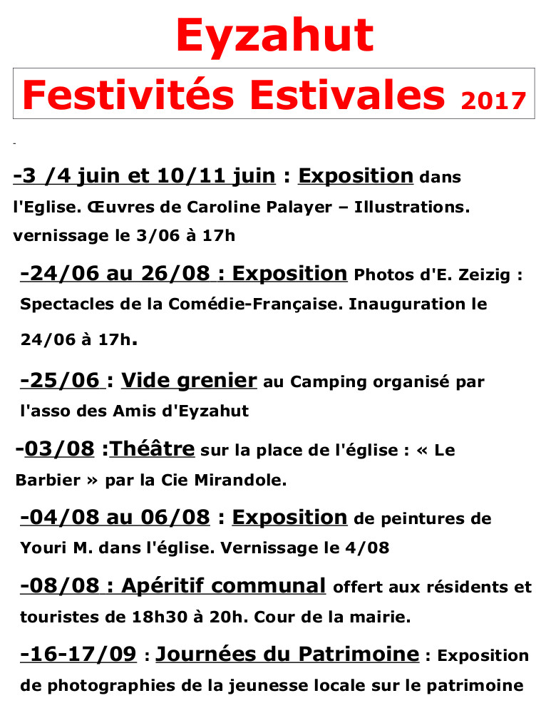 Evènements à venir 2017